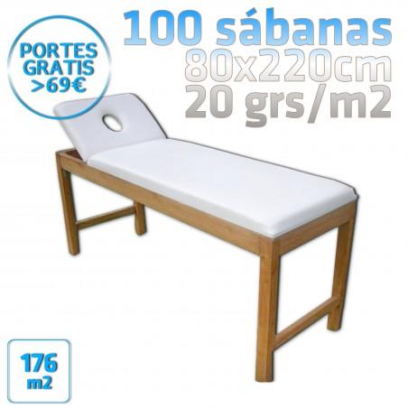 100 Sábanas 80x220cm para camillas 20grs/m2