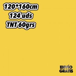 Caja de 124 Manteles de Polipropileno amarillo de tnt 60grs medida 120x160cm