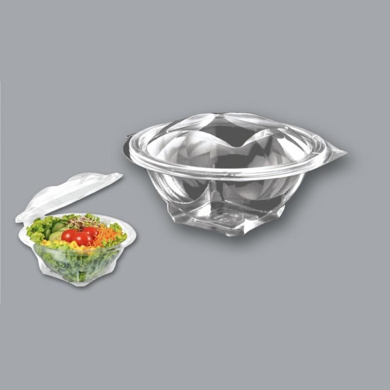 43314 Ensaladera de plástico transparente con tapa 500cc PET