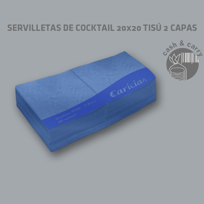 Servilletas de Cocktail 20x20 Azules Tisú 2 capas