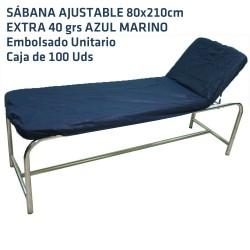 Sábana Ajustable Azul Oscuro 80x210cm 40grs desechable 100uds Embolsado unitario ref  02A46