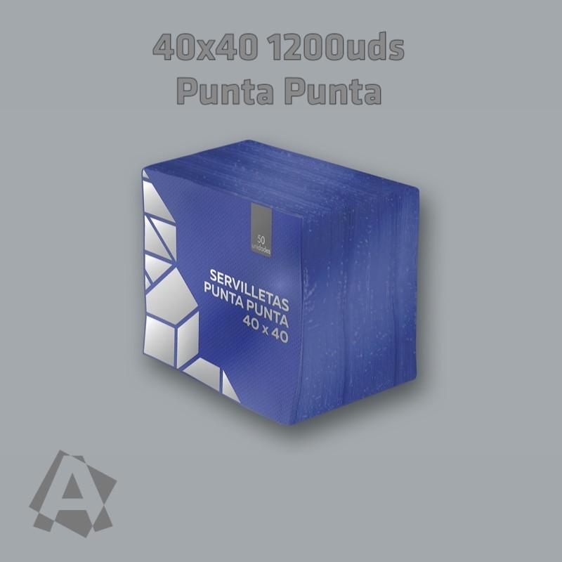 Servilletas Azules 40X40  2 capas Punta Punta ref 12882 8436562971625