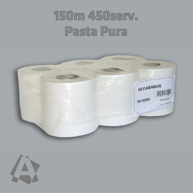 6 BOBINAS PAPEL SECAMANOS 150m 450 servicios Pasta pura