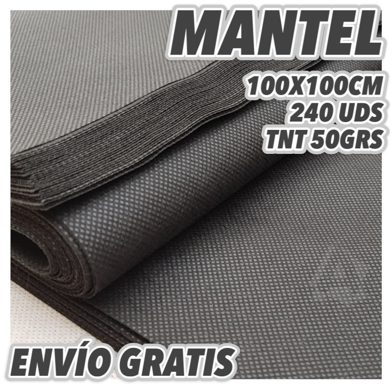 240 Manteles desechables 100x100cm Negros Envío Gratuito