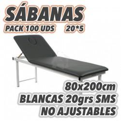 Sábanas desechables 80x200cm para camillas 20grs/m2 NO AJUSTABLES embolsado de 5 en 5uds