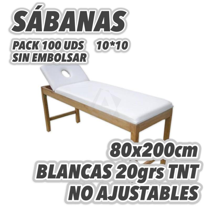 100 Sábanas desechables 80x200cm para camillas 20grs/m2 TNT Polipropileno