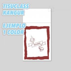 Servilletas personalizadas con logo, ejemplo 1 tinta Tisuclass kangur