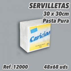Servilletas económicas 30x30cm Blanca 1 capa CARICIAS 12000