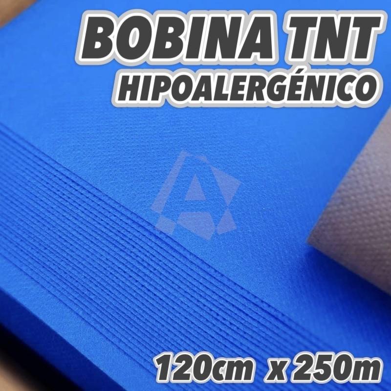Bobina de TNT 60grs/m2 color Azul 120cm x 250m de largo