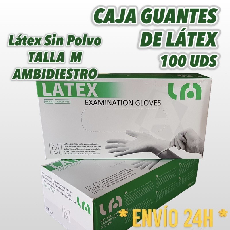 Guantes de Látex Sin Polvo 100U 1 caja Talla Mediana
