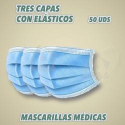Mascarillas quirúrgicas tres capas con elásticos.