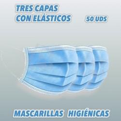 Mascarillas Higiénicas de protección personal contra el virus con elásticos.