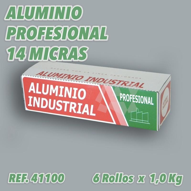 Papel de Aluminio industrial profesional 30cm 6 rollos 14 micras peso 1kg ref 41100