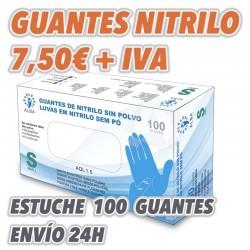 Guantes de Exámen de Nitrilo Azul sin polvo Talla S Estuches sueltos de 100uds