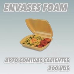 ENVASES DE FOAM PARA HAMBURGUESAS Y COMIDAS CALIENTES. 200UDS