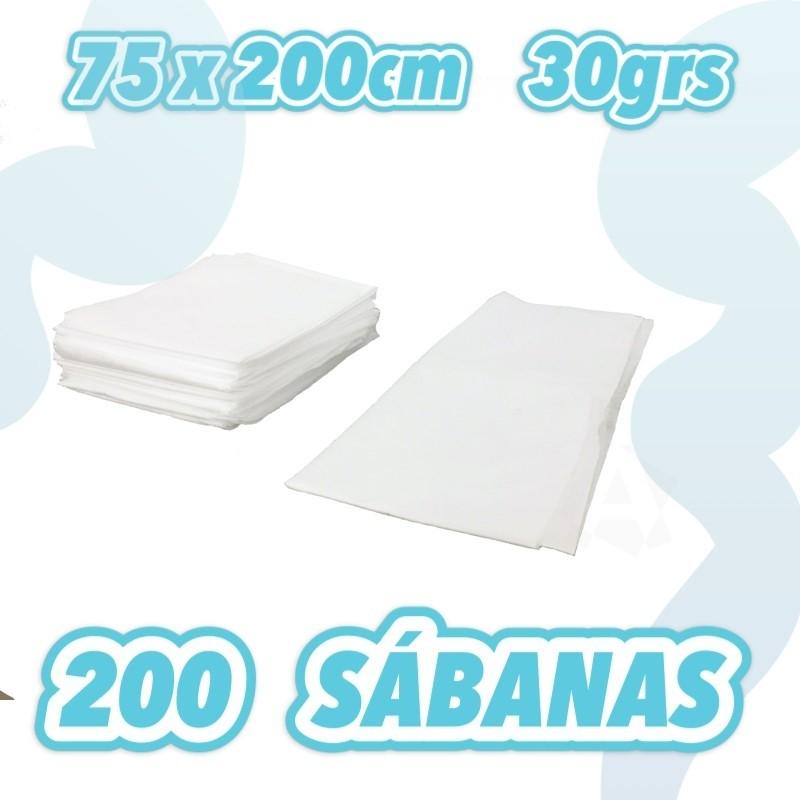 Sábana no ajustable blanca 75x200cm 30grs caja de 200 unidades
