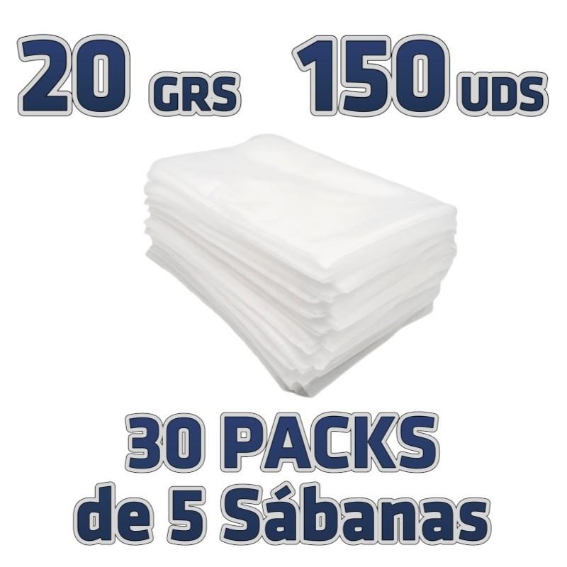 150 Sábanas desechables 80x200cm para camillas 20grs/m2 embolsadas de 5 en 5. TNT Polipropileno