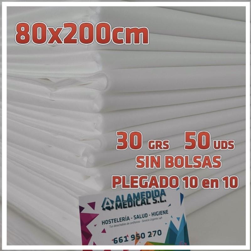 50 Sábanas 80x200cm para camillas 30grs/m2