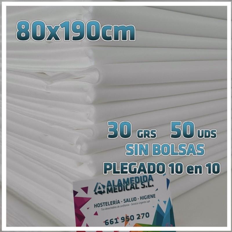 50 Sábanas 80x190cm para camillas 30grs/m2