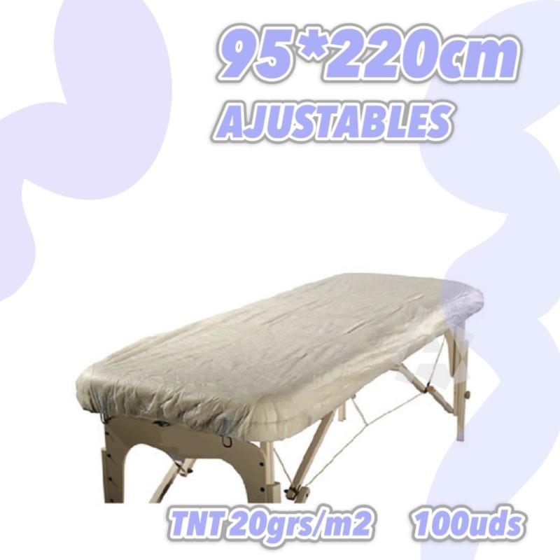Sábanas ajustables blancas grandes 95x220cm 20grs 100uds