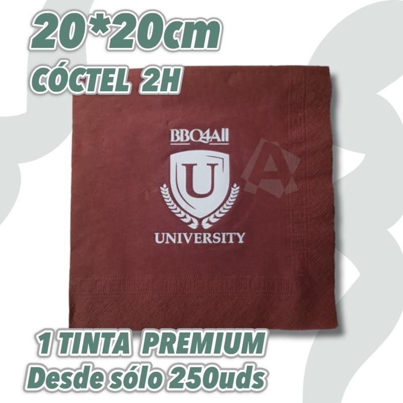 Servilletas de Cóctel personalizadas  de colores 2 hojas a 1 color Premium. Express