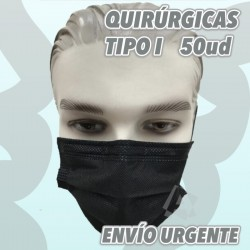 Mascarilla Médica Quirúrgica TIPO I 95% Color Negra con elásticos.