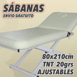 Sábanas ajustables para camillas de TNT 20grs Blancas, cajas de 100uds. Medida 80x210cm