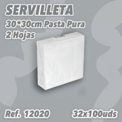 12020- Servilleta Blanca 2H 30x30 3200uds. Caricias