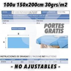 100 sabanas desechables azules 150x200cm para cama. Polipropileno tnt 30grs celeste.