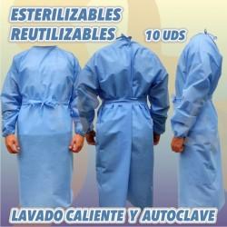 Batas esterilizables de Protección, reutilizables, lavables. Autoclave. Talla única.