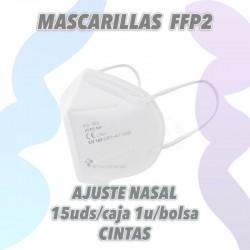 Mascarillas FFP2 KN95 de protección con ajuste nasal y gomas. Caja de 15uds embolsado unitario