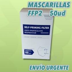 Pack ahorro FFP2, 50 mascarillas blancas con embolsado individual