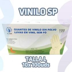 Guantes de vinilo sin polvo talla L, talla grande. 10 estuches de 100 unidades.