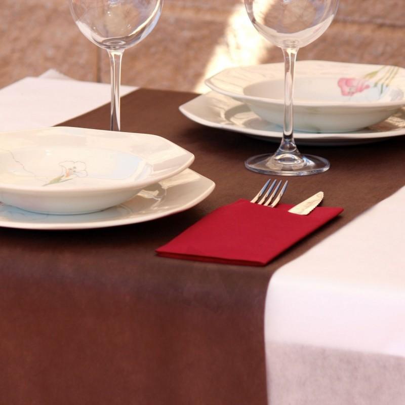 200x Mantel desechable de Polipropileno 50grs/m2 120x120cm color marrón oscuro.