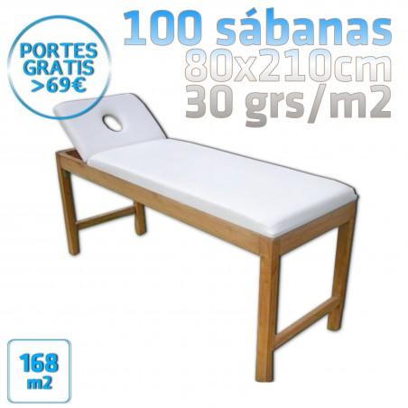 100 Sábanas 80x210cm para camillas 30grs/m2