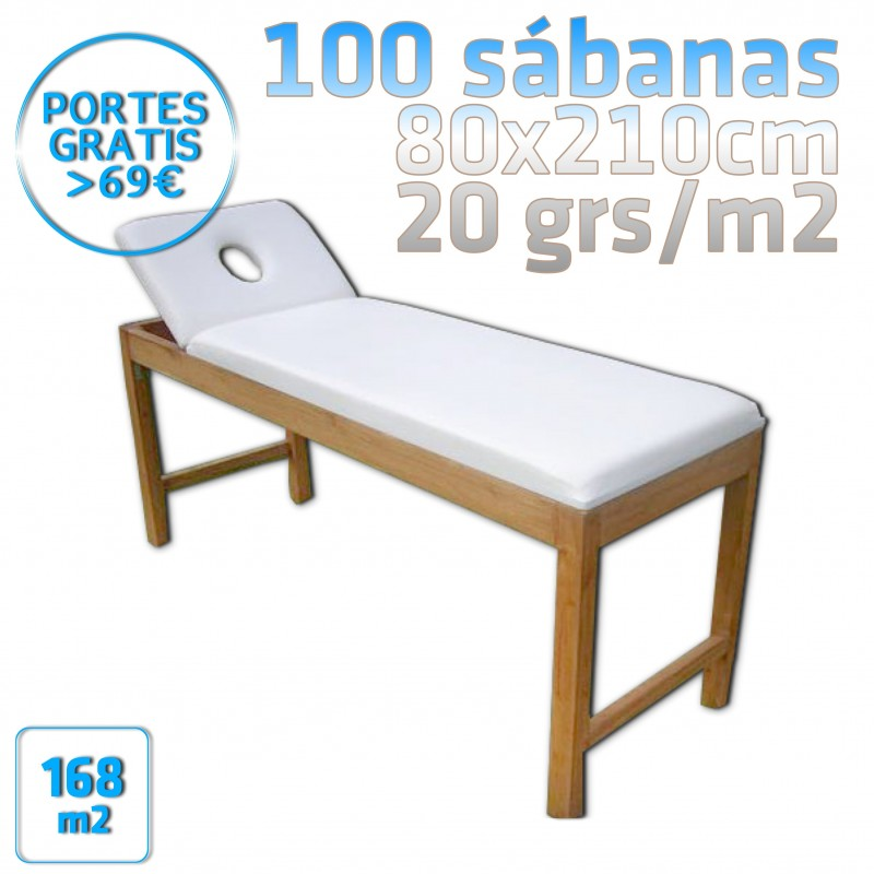 100 Sábanas para camilla 80x210cm 20grs/m2