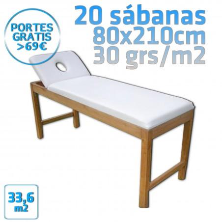 20 Sábanas 80x210cm para camillas 30grs/m2