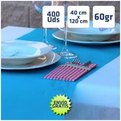400 Caminos de Mesa desechables Azul Celeste 40x120cm. 100% Polipropileno